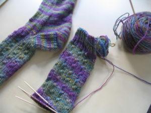 Skarpetki zrobione na drutach